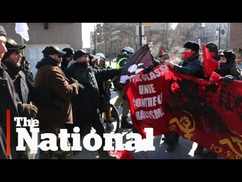 Far right groups, opponents clash at Montreal protest
