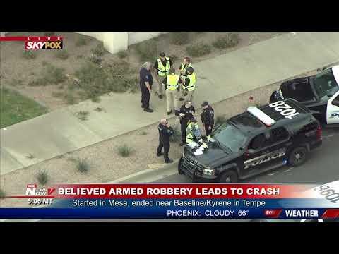 ARMED ROBBERY SUSPECTS CAUGHT: SkyFOX Over Crash Scene in Tempe, AZ (FNN)