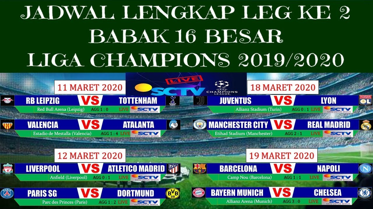 Jadwal 16 Besar Liga Champion 2020 Leg 2 - Jadwal Lengkap ...