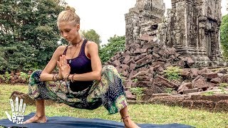 Yoga For Tight Hips & Flexibility  Mind- Body Release | Khmer Temple Ruins