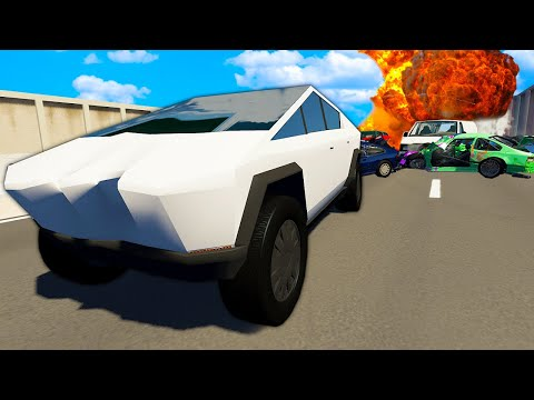 Can The TESLA CYBERTRUCK Survive Highway Crashes? - BeamNG Gameplay & Crashes