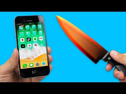 EXPERIMENT: Glowing 1000 degree KNIFE VS iPhone