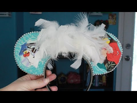 NO SEW FLAT EARS WITH FEATHER BOW- Scuttle Inspired