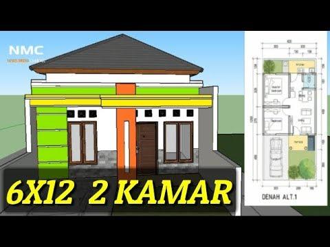Contoh Model Rumah Minimalis Sederhana Type 36 Di Lahan 6x12 Meter 1 Lantai 2 Kamar 2020 Youtube