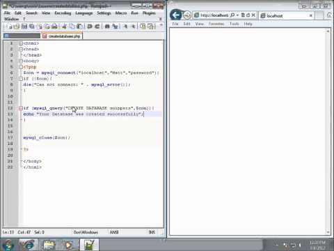 PHP Lesson 33 - Creating a MySQL Database using PHP