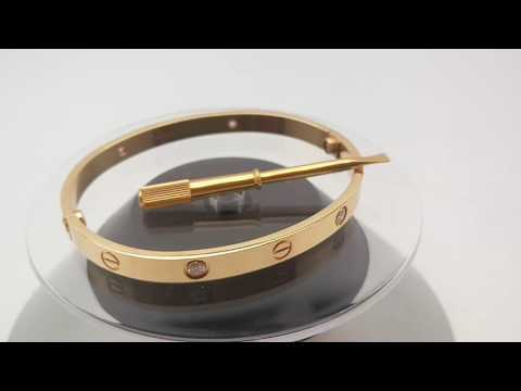 Cartier Love Bracelet 18K Yellow Gold 4 Diamonds Size 19 with Screwdriver