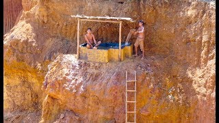 Build The Most Dangerous Swimming Pool On The Cliff By Ancient Skill