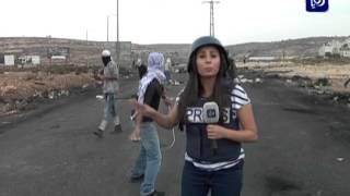 اصابة مراسلة رؤيا في فلسطين لإصابة مباشرة بالرصاص الحي المغلف بالمطاط