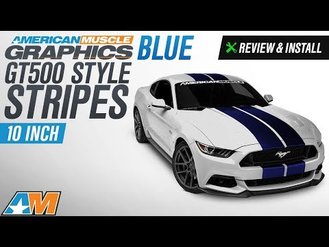 2015-2017 Mustang American Muscle Graphics Blue GT500 Style Stripes - 10 in. Review & Install