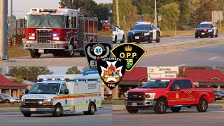 Responding To MVC - Tecumseh Fire, E-2, C-2 - 2 O.P.P. Dodge Chargers + EMS 1122 - Lights & Sirens