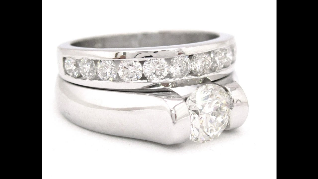Tension Set Engagement Rings with Wedding Bands YouTube