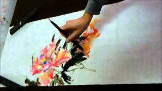 20160123陳永浩CHEN YUNG HAO老師授課Ink and color PAINTING 畫牡丹 Painted peony