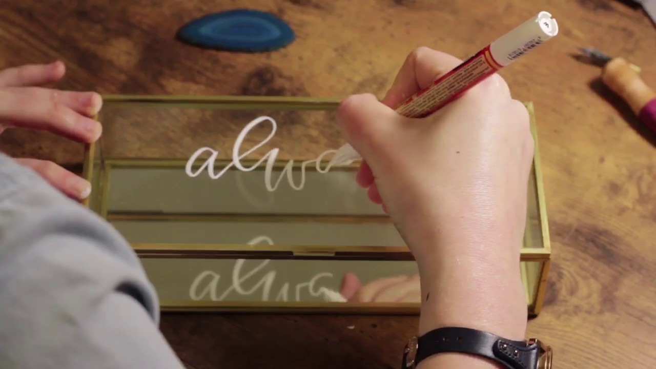 Calligraphy On Glass Hand Lettering With An Acrylic Paint Pen
