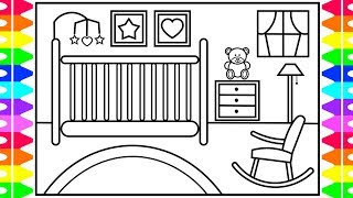 How to Draw a Baby Doll Nursery for Kids 💜💖💚 Baby Nursery Drawing and Coloring Pages for Kids