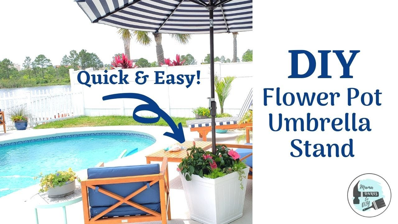 Quick Easy Diy Flower Pot Umbrella Stand Heavy Duty Umbrella Stand Made For High Winds Youtube