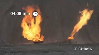Безопасный полимерный газовый баллон в огне