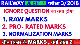 RRB JE CBT-1 Marks , RAW Marks, Pro-rated Marks & Normalization Marks में ignore Question का महत्व