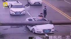 Driver Cheats Death After Crane falls on his Car
