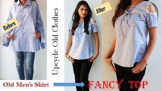 DIY: Convert Men's Old Shirt Into Fancy Ladies Top In Easy Way