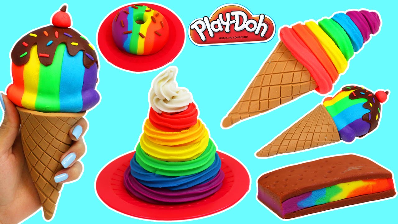 Download Play Doh Rainbow Swirl, Ice Cream Sandwich, Donut & More Desserts!