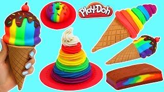 Play Doh Rainbow Swirl, Ice Cream Sandwich, Donut & More Desserts!