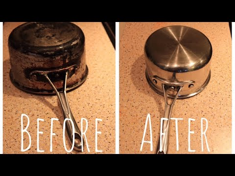 DIY : How to Clean stainless steel Pan || Using Vinegar,Baking Soda,Lemon #vinegarbakingsodahack