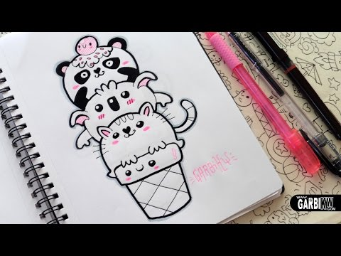 ♥ Kawaii Animals Ice Cream ♥ Panda, Koala And Cat ♥ Doodles ♥ Easy Drawings By Garbi KW