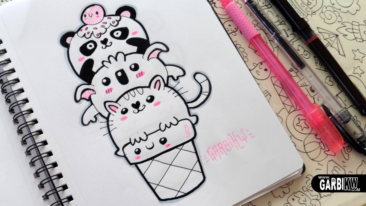 Kawaii Animals Ice Cream Panda Koala And Cat Doodles