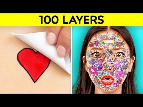 100 KAT MEYDAN OKUMASI! 123 GO! CHALLENGE İle En İyi 100+ Kat Makyaj, Saç Spreyi, Koli Bandı, Dövme
