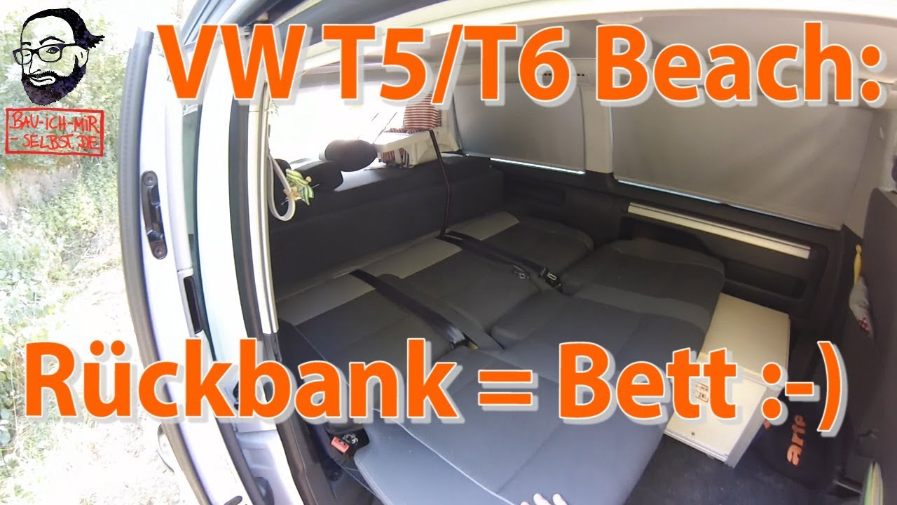 vw t5 2 california beach videoanleitung die r ckbank wird zum bett youtube. Black Bedroom Furniture Sets. Home Design Ideas