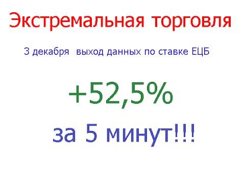 +52,5% за 5 минут. Экстремальная торговля на новостях.  ЕЦБ.