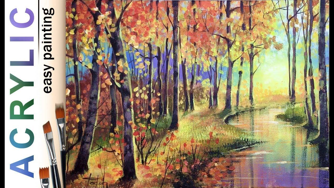 Autumn Acrylic Painting Tutorials Step By Step Art Instruction Blog