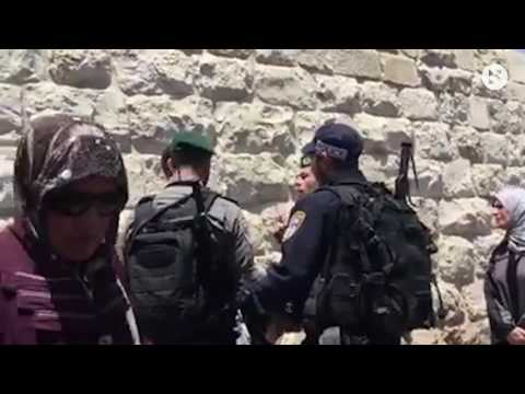 Border police beating a Palestinian who handed out brouchures near the Lion's gate