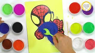 Hướng dẫn cách tô màu tranh cát siêu nhân người nhện Spider man - ZoomZoomTV