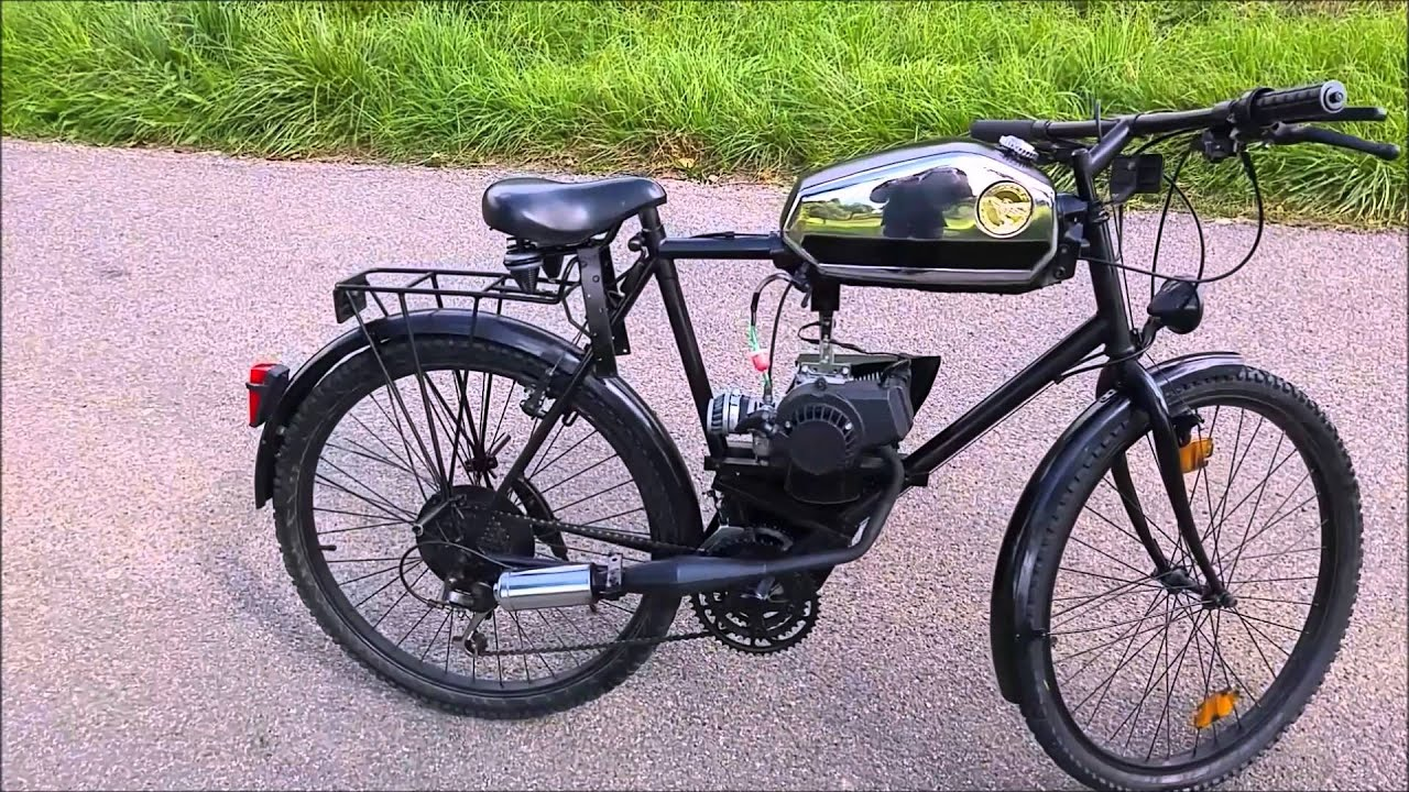 bicycle with pocketbike engine fahrrad mit. Black Bedroom Furniture Sets. Home Design Ideas
