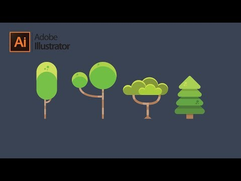 Flat Design Trees Tutorial in Adobe Illustrator thumbnail