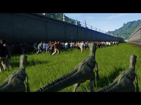 3 RAPTORS Vs 1000 PEOPLE - Jurassic World Evolution