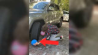 FAKE TIRE POP PRANK 😂 #shorts