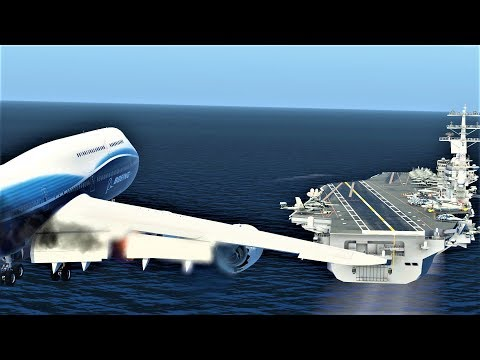 Boeing 747-8 Aircraft Carrier Emergency Landing Crash!! - (HD)