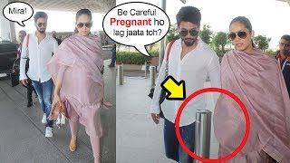 Shahid Kapoor Saves PREGNANT Wife Mira Rajput's Stomach From Getting Hurt By A Pole At Airport