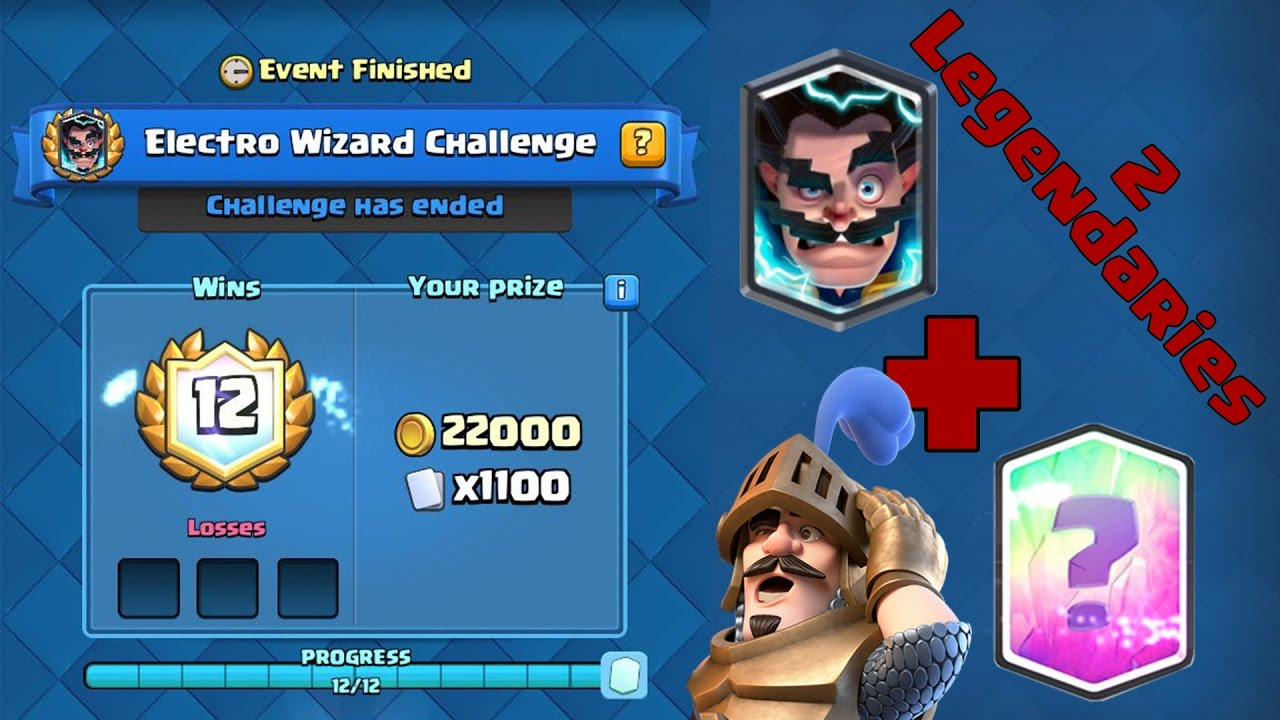 clash royale 12 win electro wizard deck live chest opening