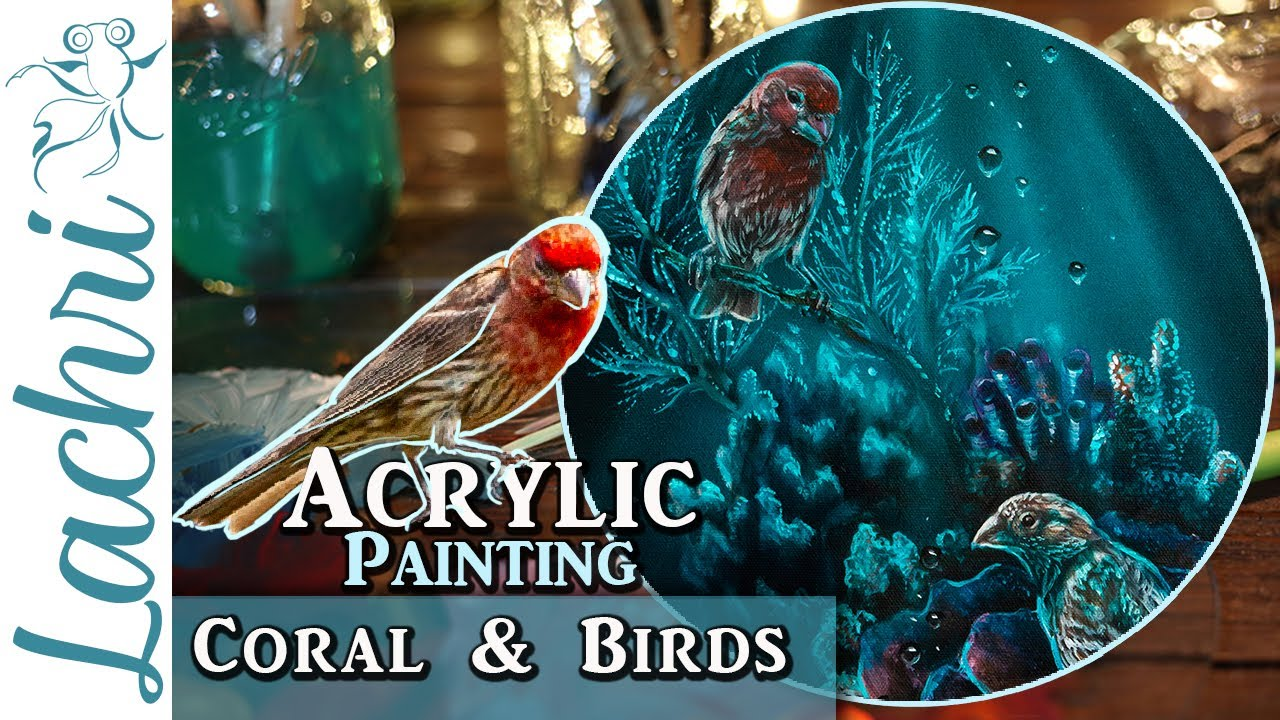Mixing Coral and wild Birds in an Acrylic Painting - Lachri