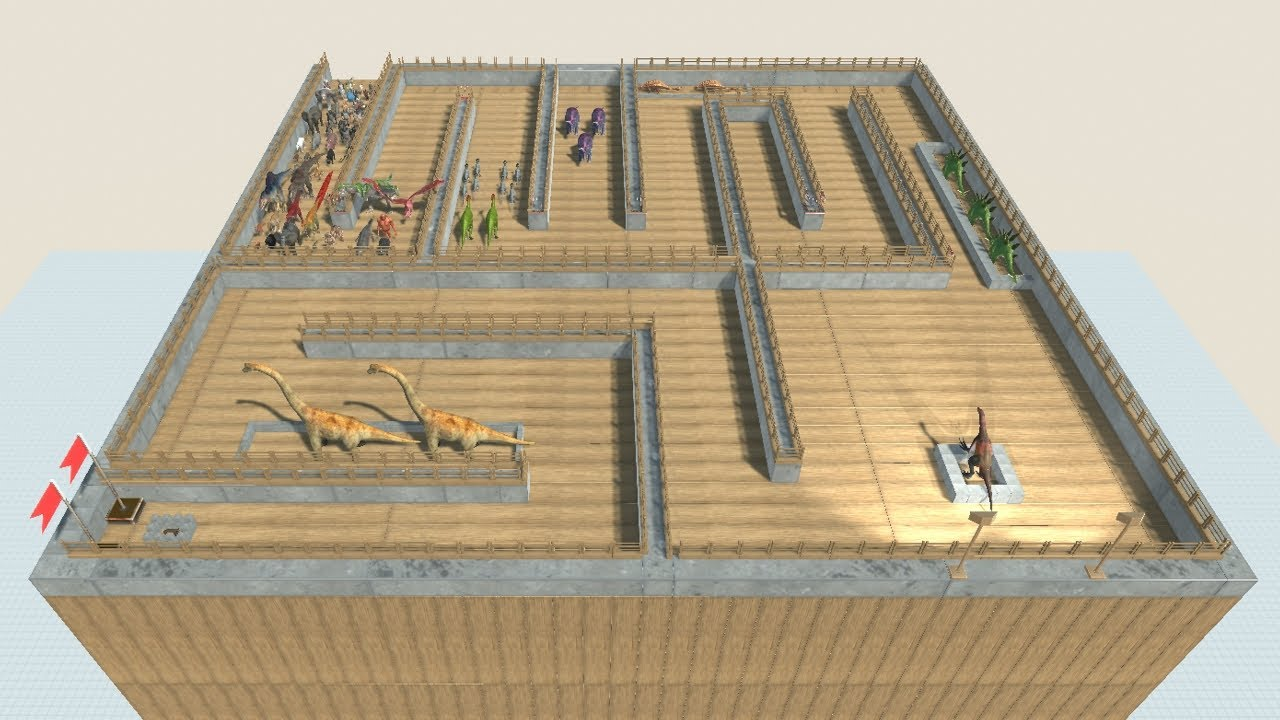 Maze of Herbivore Dinosaurs vs Faction Army from ALL UNITS Animal Revolt Battle Simulator