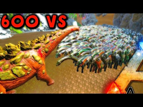 ARK Survival Evolved - 600 BRONTO VS TITANOSAUR - TITANOSAUR MASSIVE BATTLE ( ARK Battles Gameplay )