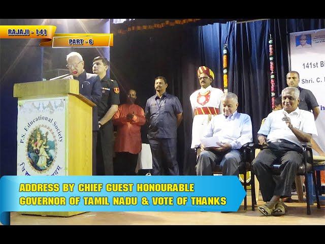 Rajaji 141 - Part 6 - Chief Guest Address & Vote of Thanks