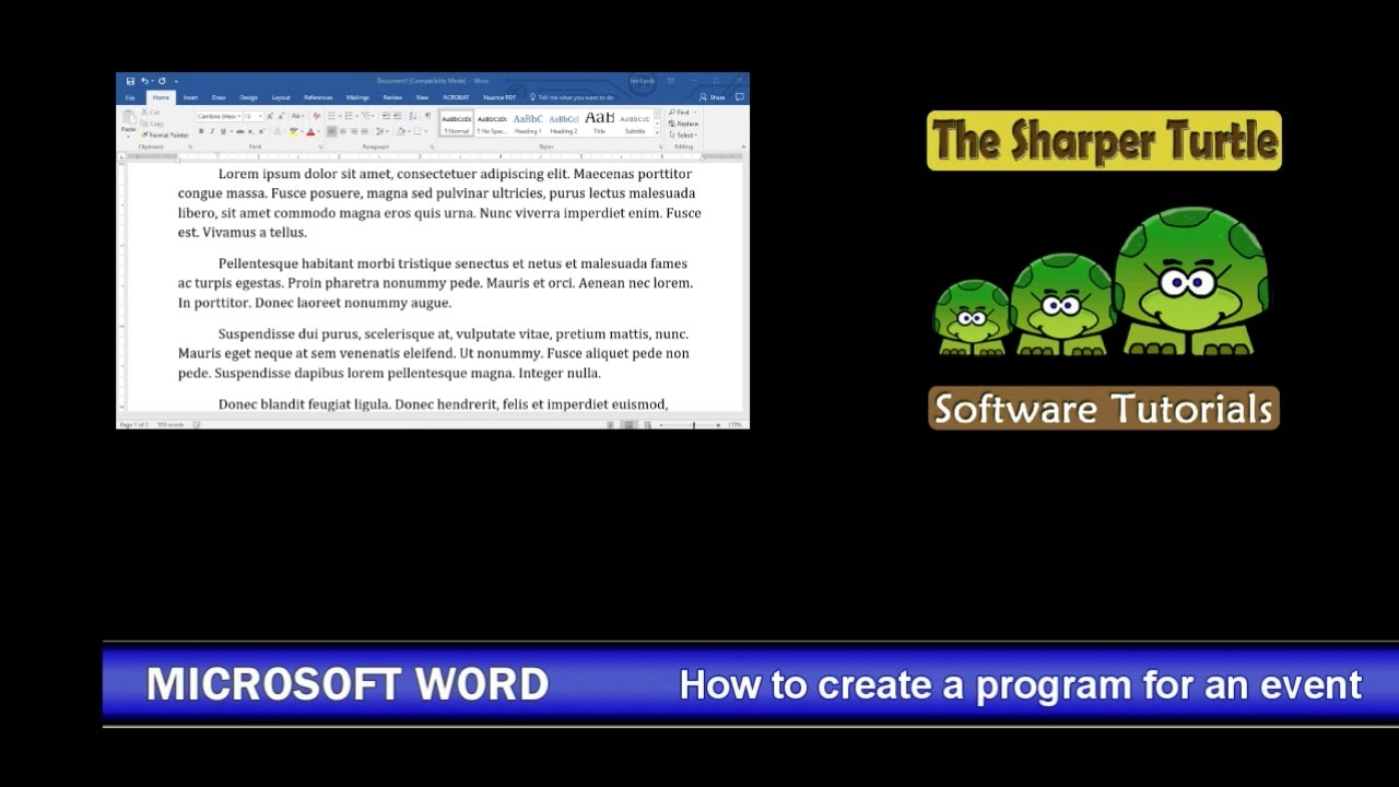 microsoft word how to create a program for an event youtube