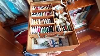 Рукодельный шкафчик.Мои начатые вышивки.