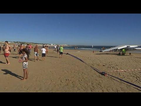 Aftermath of plane crash on Lisbon beach
