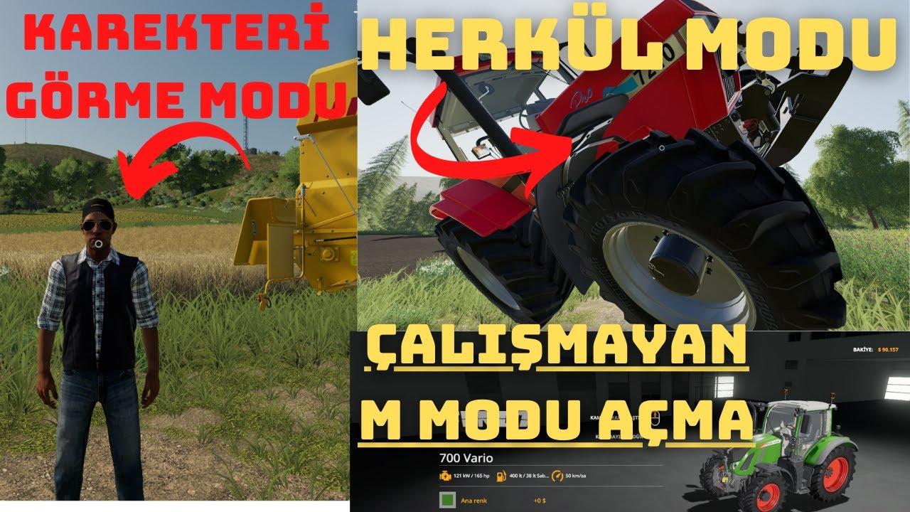 herkül modu///karekteri görme modu_açılmayan modları açma(3rdperson)farming simulator19
