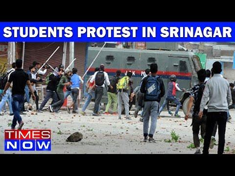 Students Protest In Srinagar: 35 Injured Including 18 Policemen